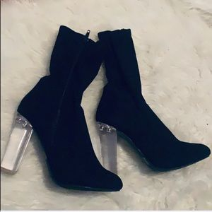 Black Boots - Clear Heel